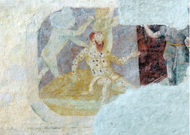 Job with Leprosy, circa 1580. Fresco, Parz Castle, Austria. Photo by Wolfgang Sauber.