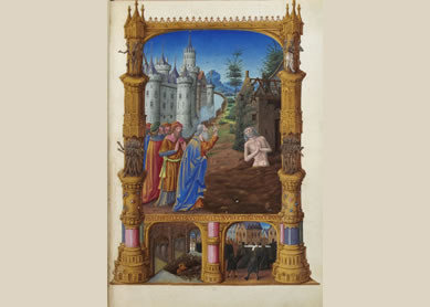 Job, in Très Riches Heures du duc de Berry, circa 1415. Gothic manuscript illumination, Folio 82r, Musée Condé, Chantilly, France.