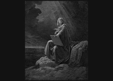St John on Patmos. Illustration by Gustave Dore for the Bible 1865-6