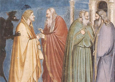 Giotto di Bondone, Judas Receiving Payment for his Betrayal. From the Life of Christ, Cappella degli Scrovegni, Padua, Italy, late 13th–early 14th century.