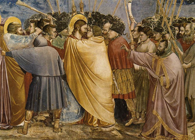 Giotto di Bondone, The Arrest of Christ (Kiss of Judas), 1304–1306. Scrovegni Chapel, Padua, Italy.
