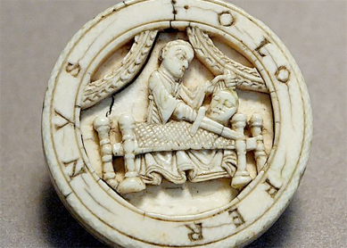 Judith and Holofernes trictrac checker, circa 17th century C.E