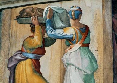 Michelangelo Buonarroti, Judith and Holofernes (detail). Fresco, 1508–1512. Sistine Chapel, Vatican City.