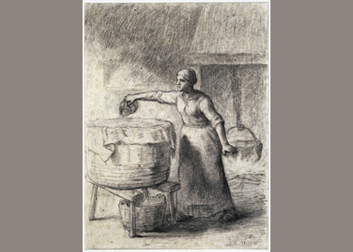 Jean-Francois Millet, La Lessiveuse  (The Lye-Washer), ca. 1852. Black chalk on wove paper, Princeton University Art Museum, Princeton, NJ.