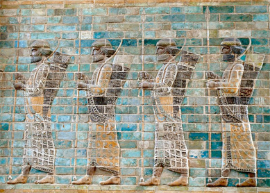 Persian guards depicted on glazed brick friezes from the palace of Darius the Great at Susa (in present-day Iran). Louvre Museum, Paris.