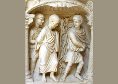 Martyrdom of Paul. Detail from the sarcophagus of Junius Bassus, died 359 C.E. Vatican Museums.