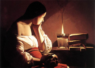 Georges de la Tour, Magdalene with the Smoking Flame. Oil on canvas, circa 1640. Los Angeles County Museum of Art, Los Angeles.