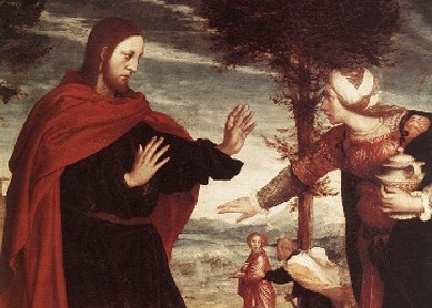 Noli me tangere (detail). Oil on oak panel, circa 1524.