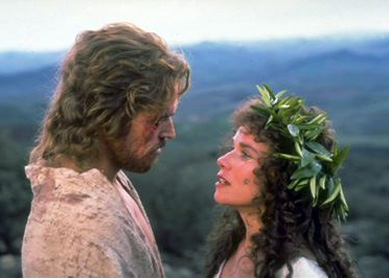 Jesus and Mary Magdalene in Martin Scorsese's The Last Temptation of Christ.