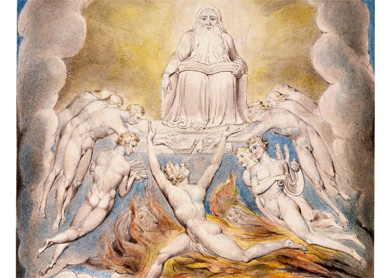 William Blake, Satan Before the Throne of God. Pen and black ink, gray wash, and watercolor over traces of graphite, 1805.