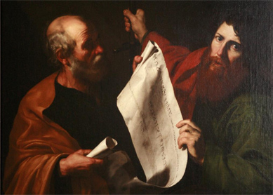 Jusepe de Ribera, St. Peter and St. Paul. Oil on canvas, early 17th century.