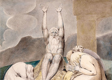 William Blake, Job's Despair. Pen and black ink, gray wash, and watercolor over traces of graphite on paper, 1805.