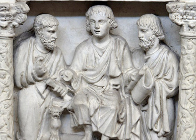Jesus flanked by Peter and Paul. Detail from the Roman sarcophagus of Junius Bassus, 359 CE.