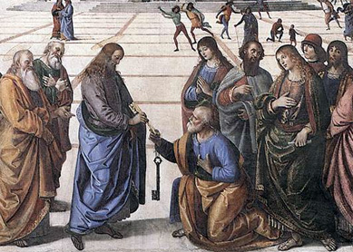 Pietro Perugino, Christ Handing the Keys to St. Peter, 1482. Sistine Chapel Gallery, Vatican City.