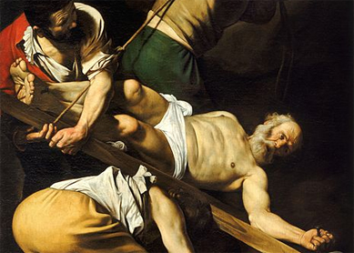 Caravaggio, The Crucifixion of Saint Peter. Oil on canvas, circa 1600. Église Sainte-Marie-du-Peuple, Rome.