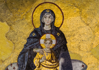 Mosaic of the Virgin Mary and Child in the apse of the Hagia Sophia, Istanbul, Turkey.