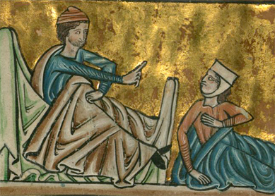 William de Brailes, Ruth at Boaz's feet. Detail of a manuscript illumination, circa 1250.