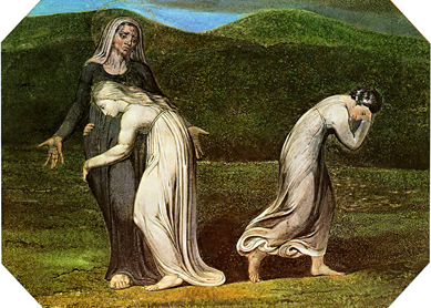 William Blake, Naomi entreating Ruth and Orpah to return to the land of Moab, 1795.