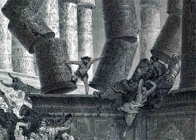 Gustave Doré, Death of Samson. Engraving, 1866.