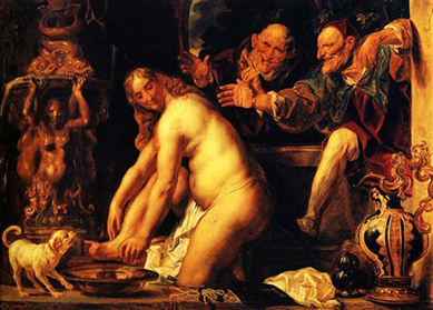 Jacob Jordaen, Susanna and the Elders, 1653. Oil on canvas, National Gallery of Denmark, Copenhagen.