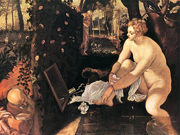 Tintoretto (Jacopo Comin), Susanna and the Elders, circa 1555.  Oil on canvas, Kunsthistorisches Museum, Vienna, Austria.