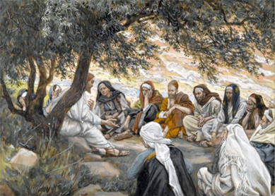 James Tissot, The Exhortation to the Apostles. Opaque watercolor over graphite on gray wove paper, circa 1886–1894.