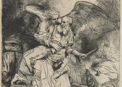 Rembrandt van Rijn, Abraham's Sacrifice. Etching and drypoint on paper, 1655. Rijksmuseum, Amsterdam.