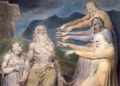 William Blake, Job Rebuked by His Friends. Pen and black ink, gray wash, and watercolor over traces of graphite, 1805.