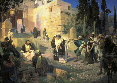 Vasily Polenov, Jesus and the Woman Taken in Adultery. Oil on canvas, 1888.