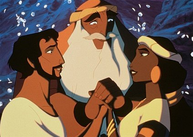 Moses and Zipporah in The Prince of Egypt (1998).