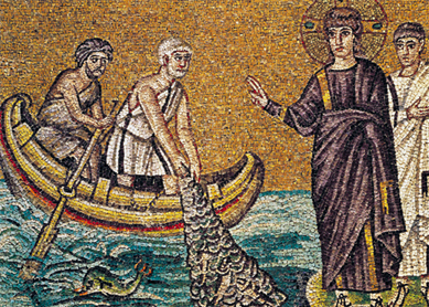 The Calling of Saints Peter and Andrew. Mosaic from the Church of Sant'Apollinare Nuovo, Ravenna, Italy.