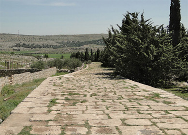 Ancient Roman road connecting the towns of Antioch and Chalcis, near the modern site of Tall Aqibrin in Syria.