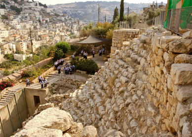 "The ""stepped stone structure"" in Area G from the excavations at the City of David (view from the north)."