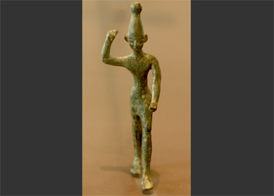 Bronze figurine of Baal from Ras Shamra (ancient Ugarit), circa 14th–12th century B.C.E. Louvre Museum, Paris.