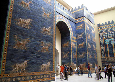 Reconstruction of the Ishtar Gate, built in Babylon around 575 B.C.E. by King Nebuchadnezzar II. Pergamon Museum, Berlin.
