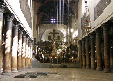 Interior view, Church of the Nat ivity, constructed 327–339 C.E.