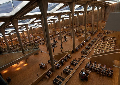 Interior of the modern Bibliotheca Alexandrina, Alexandria, Egypt. Photograph by Carsten Whimster.