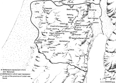 Map of the province of Yehud in the Persian period according to biblical sources and archaeological finds (after E. Stern).