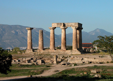 """Temple E"" at Ancient Corinth."