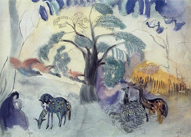 Martiros Saryan, Fairy Tale. Garden of Eden. Watercolor on paper, 1904.
