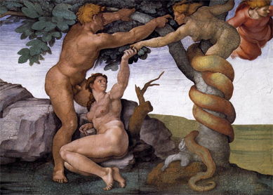 Michelangelo, The Fall and Expulsion from the Garden of Eden. Fresco, 1509–1510. Sistine Chapel, Vatican City.