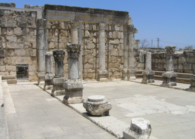 Looking northeast into the synagogue in Capernaum. This large limestone basilica was constructed in the late 4th or 5th century C.E.