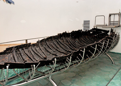 First-century boat discovered on the north-west shore of the Sea of Galilee in 1986, currently housed in the Yigal Alon Museum in Kibbutz Ginosar, Israel.
