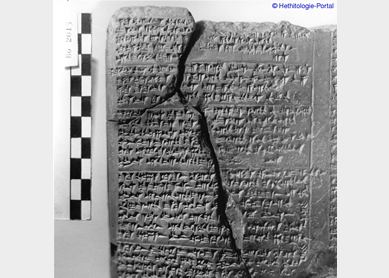 Clay tablet written in Hittite cuneiform script