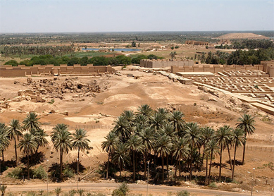 The ruins of ancient Babylon seen from Saddam Hussein's former summer palace. Hillah, Iraq, May 2003.