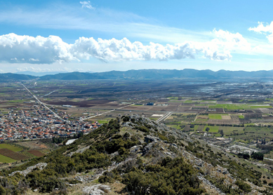 A view of Philippi from the summit of the acropolis, with the modern municipality of Filippoi (Greece) below.