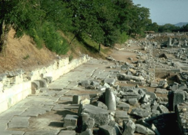 The Via Egnatia, the great Roman road linking west and east, seen as it passes through Philippi.