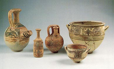 Examples of Philistine bichrome pottery (late Iron Age).