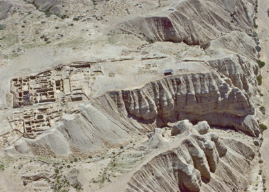 Aerial view of the Qumran excavations (from the west).