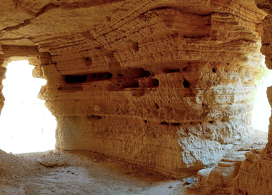 The interior of Qumran Cave 4, where a large number of the Dead Sea Scrolls were discovered.